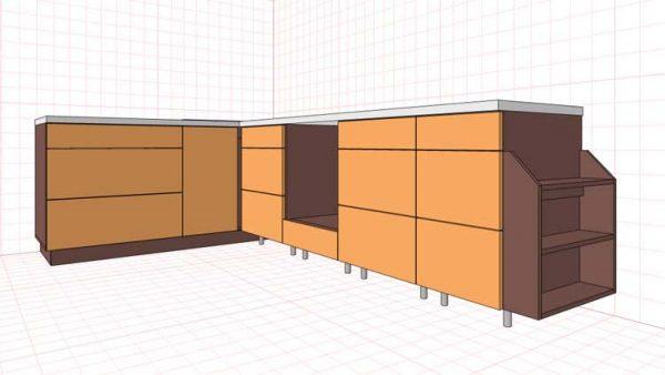 Проект нижних шкафов для кухни