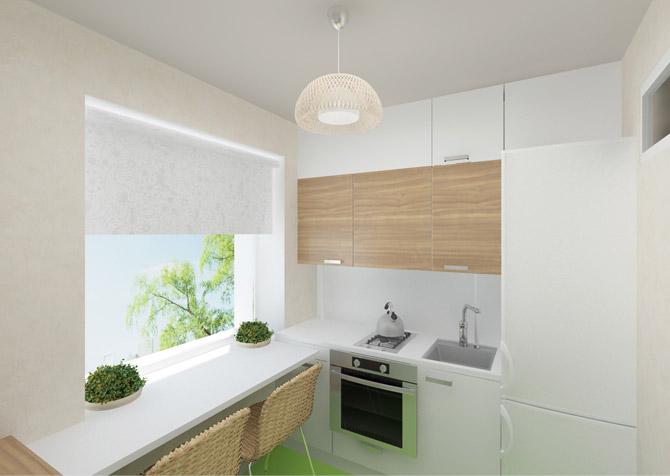 маленькая кухня с обеденной зоной на подоконнике