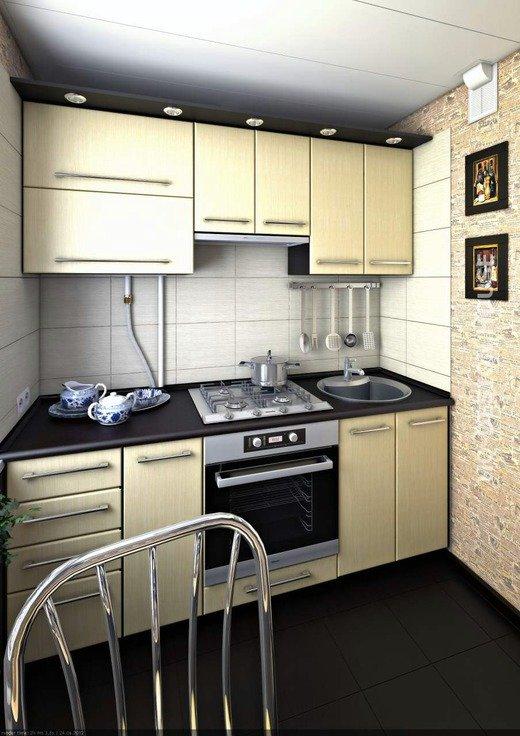 линейная маленькая кухня