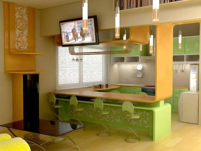 барная стойка на кухне с орнаментом