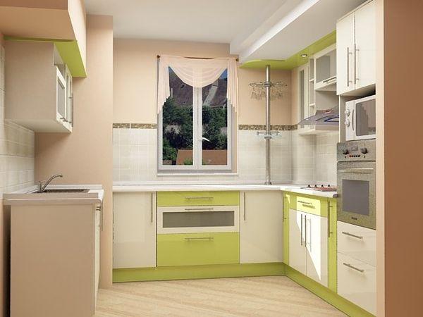 Угловая кухня у окна с барной стойкой