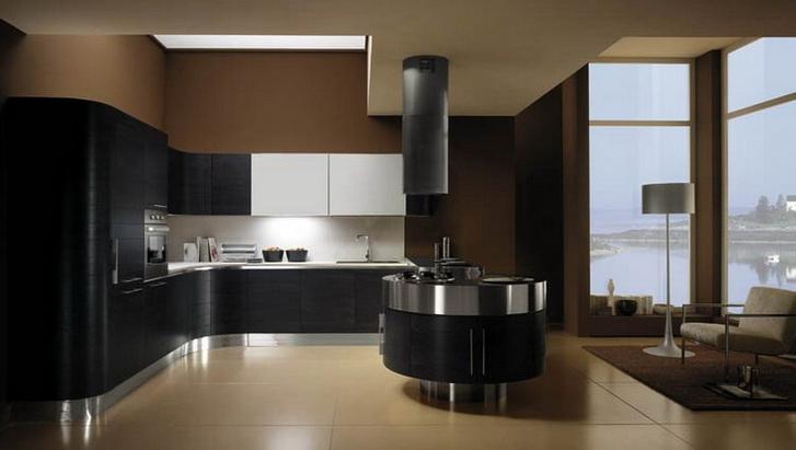 Угловая кухня у окна чёрного цвета
